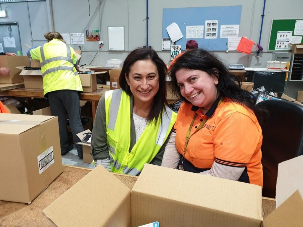 Marriott Industries, happy, smiling supported employee and corporate volunteer