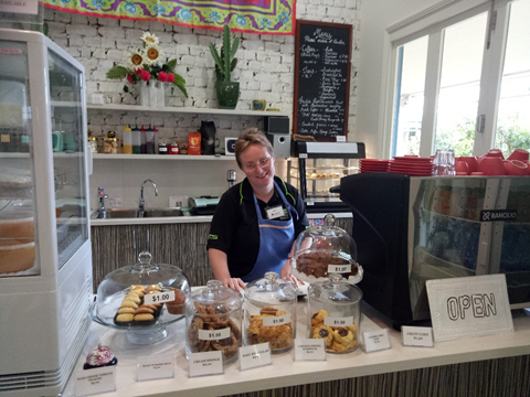 Participant working at a cafe