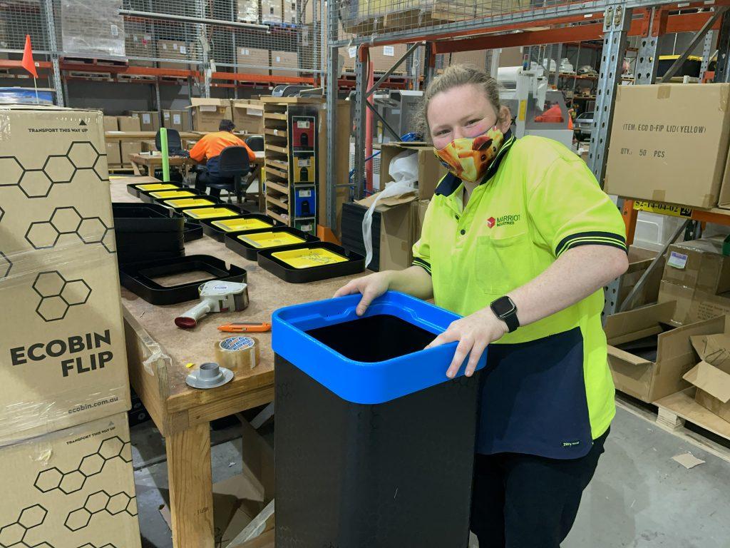 Team leader, Jodie, Assembling the Eco Bin