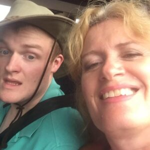 Sarah, Support coordinator smiling with her son Ben who is an NDIS participant at Marriott